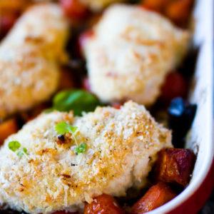 Coconut Crumbed Chicken & Roast Veg